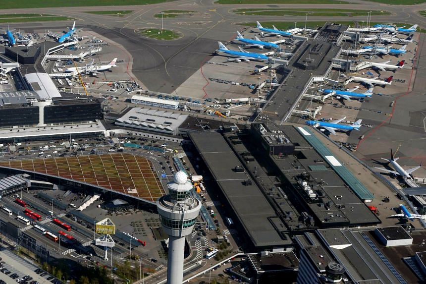 """Several airports across the continent warned of problems, with Schiphol (above) saying that the """"system failure"""" at Eurocontrol could have """"possible consequences"""" for departures."""