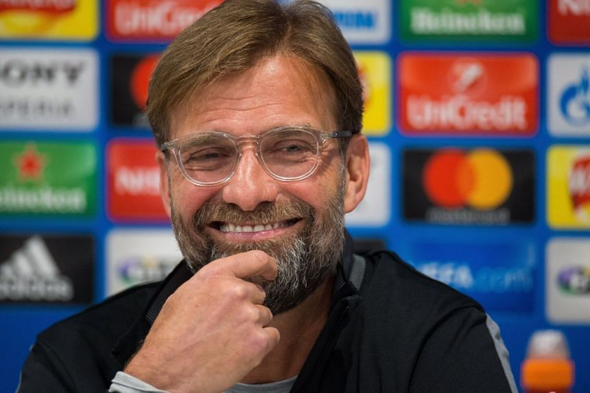 Klopp facing the press ahead of Liverpool's match against Manchester City.
