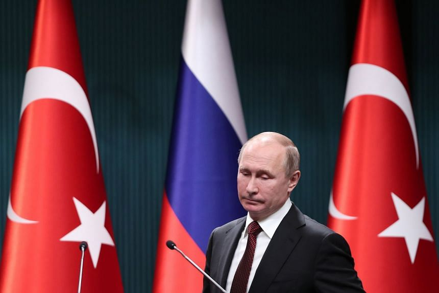 Putin during a press conference with Turkish President Recep Tayyip Erdogan on April 3, 2018.