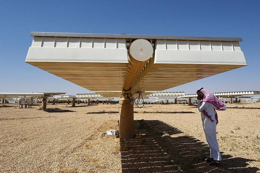 A large solar panel at the Saudi government research lab in Al Uyayna.