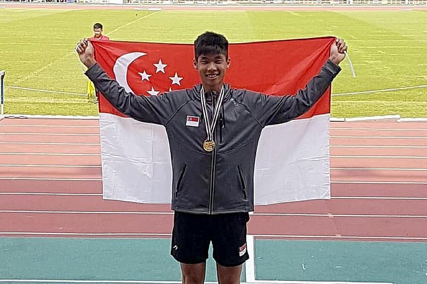 A happy high jumper Kampton Kam with his gold medal at Thammasat Stadium in Bangkok yesterday. He is aiming for the Asian junior championships, with the Youth Olympics a long shot.