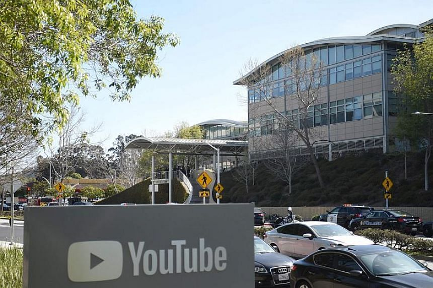 The scene at YouTube's headquarters during an active shooter situation in San Bruno, California on April 3, 2018.
