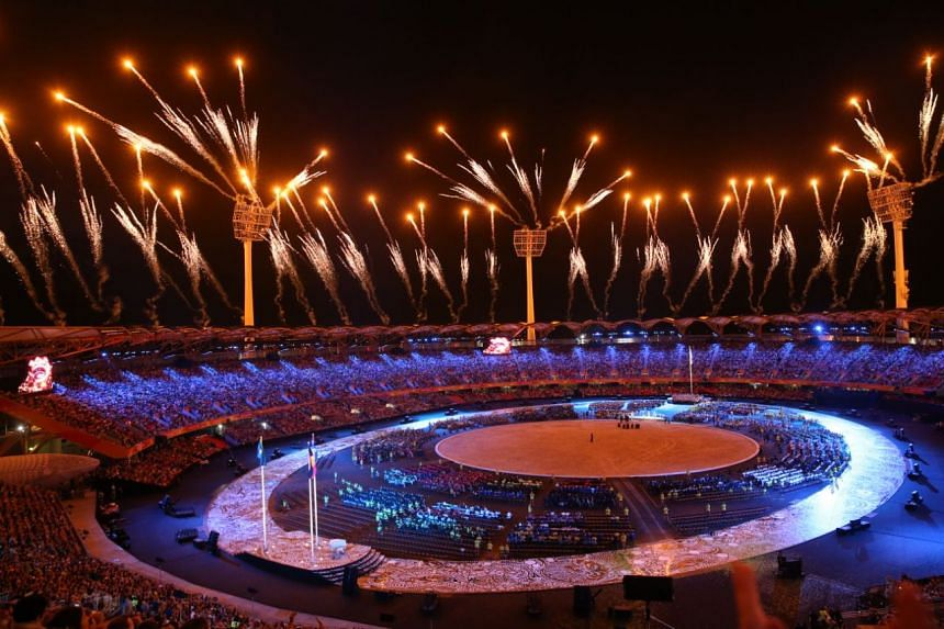 The opening ceremony at the fully-packed 35,000-seat Carrara Stadium was beamed to an estimated 1.5 billion television audience.