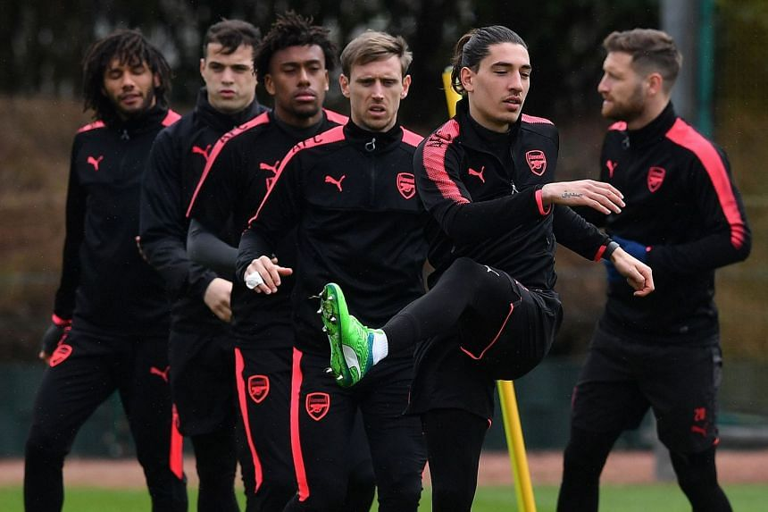 Arsenal players at a team training session on the eve of their Europa League match against CSKA Moscow.