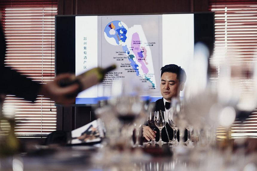 Students learning about California wines at a sommelier training class in Shanghai on April 1, 2018.