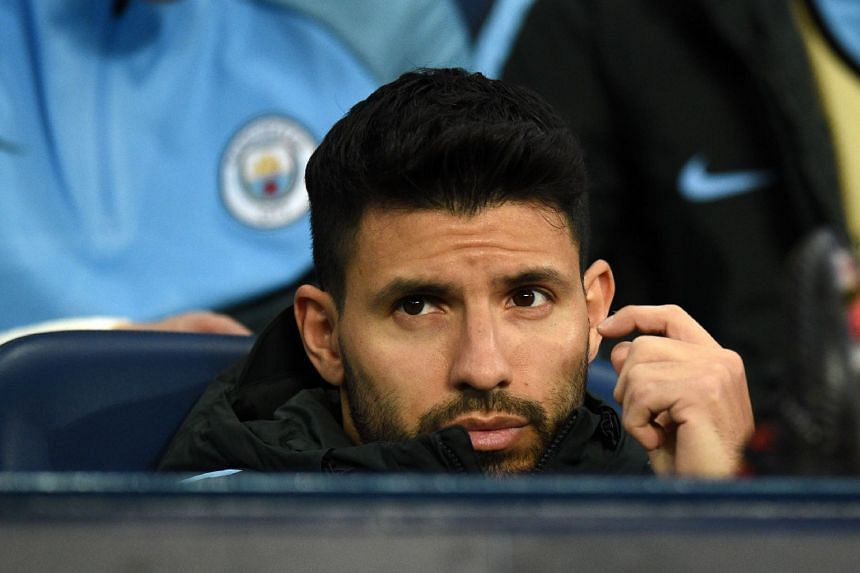 Aguero on the bench during City's match against Basel on March 7, 2018.