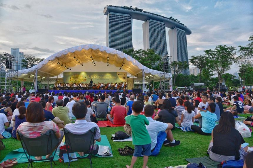 File photo showing people attending a classical concert on the evening of March 11, 2017, at The Meadow, Gardens by the Bay.
