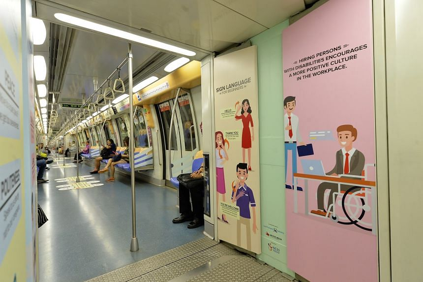 The train, which is decorated with colourful panels, is meant to provide commuters with a better understanding of the differences among intellectual, sensory and physical disabilities.