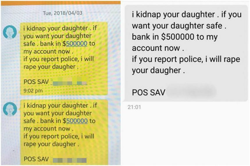 In a statement on April 4, the police said they have received numerous reports from the public over SMSes claiming that they have kidnapped the recipient's loved ones.