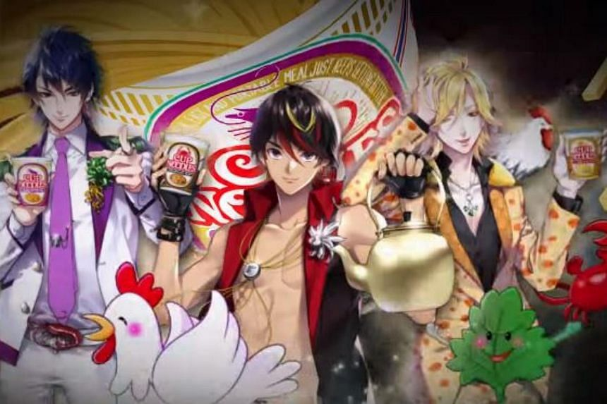 The anime characters for Nissin's (from left) Tom Yum Kung, Black Pepper Crab and Singapore Laksa flavoured instant noodles.