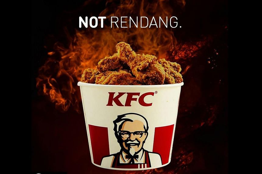 """KFC Malaysia posted a photo of a bucketful of fried chicken, with a backdrop of flames and the headline """"Not Rendang"""", on its Instagram account on April 4, 2018."""