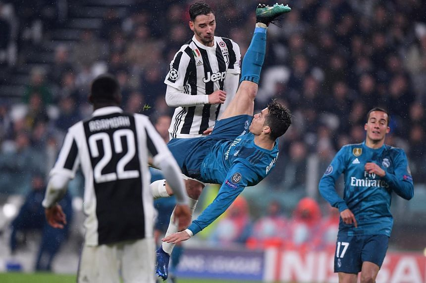 Cristiano Ronaldo scores his second goal with a sensational overhead bicycle kick.