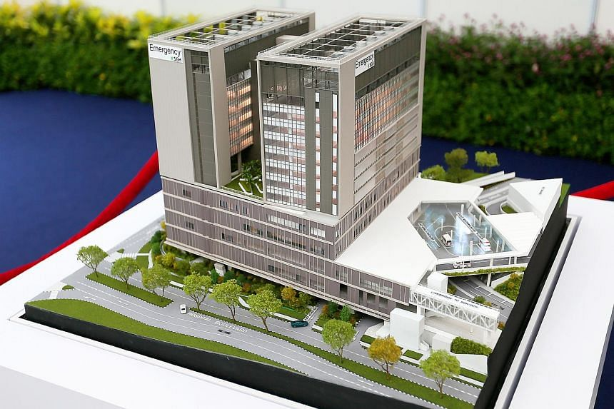 A model of the new Emergency Medicine Building at the Singapore General Hospital on April 3, 2018.