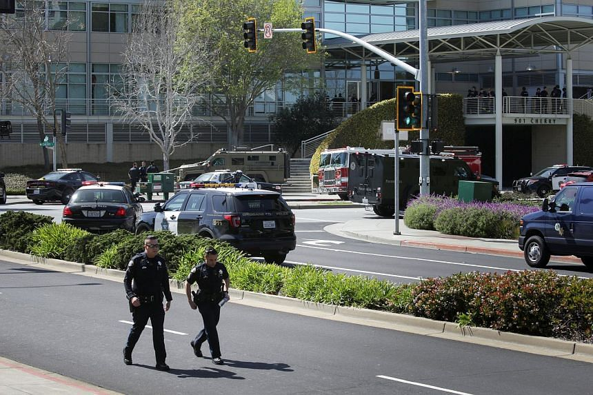 Police officers are seen at YouTube headquarters following an active shooter situation in San Bruno, California, US, on April 3, 2018.
