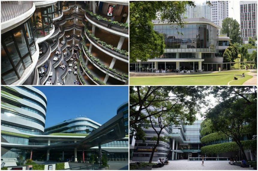 There was a breach of 52 staff accounts across (clockwise from top left) Nanyang Technological University (NTU), National University of Singapore (NUS), Singapore Management University (SMU) and Singapore University of Technology and Design (SUTD).
