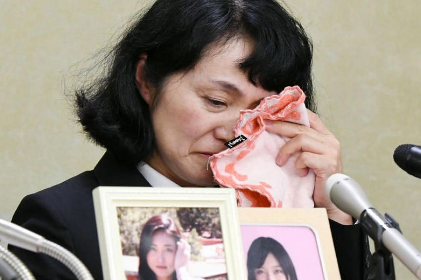 Yukimi Takahashi, the mother of Matsuri Takahashi, former employee of Japanese advertising giant Dentsu who committed suicide in 2015 at the age of 24, at a news conference in Tokyo, Japan, on Oct 6, 2017.