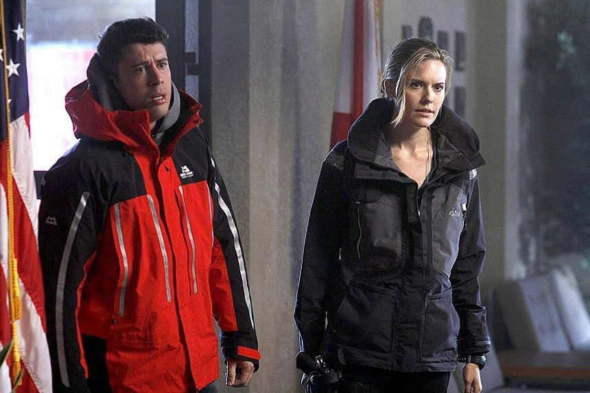 The Hurricane Heist stars Toby Kebbell and Maggie Grace (both above).