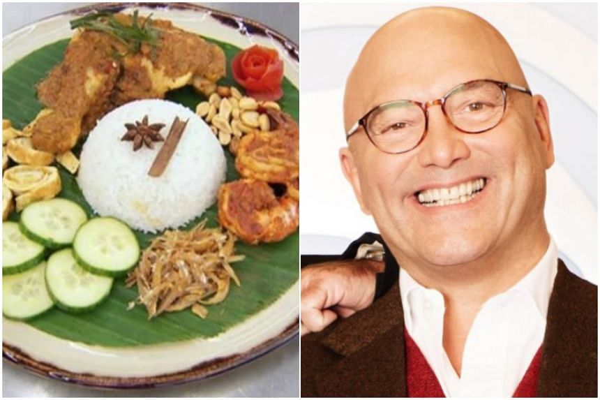 """(Left) Zaleha Kadir Opin's nasi lemak with chicken rendang and prawn sambal dish that got her eliminated from MasterChef UK. Gregg Wallace, a judge on the show, was slammed for his """"crispy skin"""" rendang remark."""