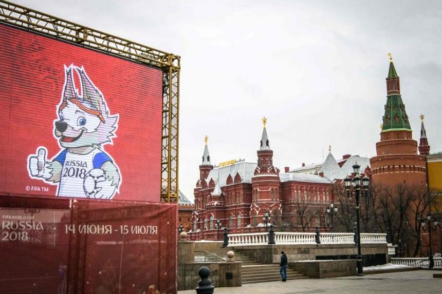A statue of Zabivaka, the official mascot for the 2018 Fifa World Cup, in Manezhnaya square in downtown Moscow on April 2, 2018.