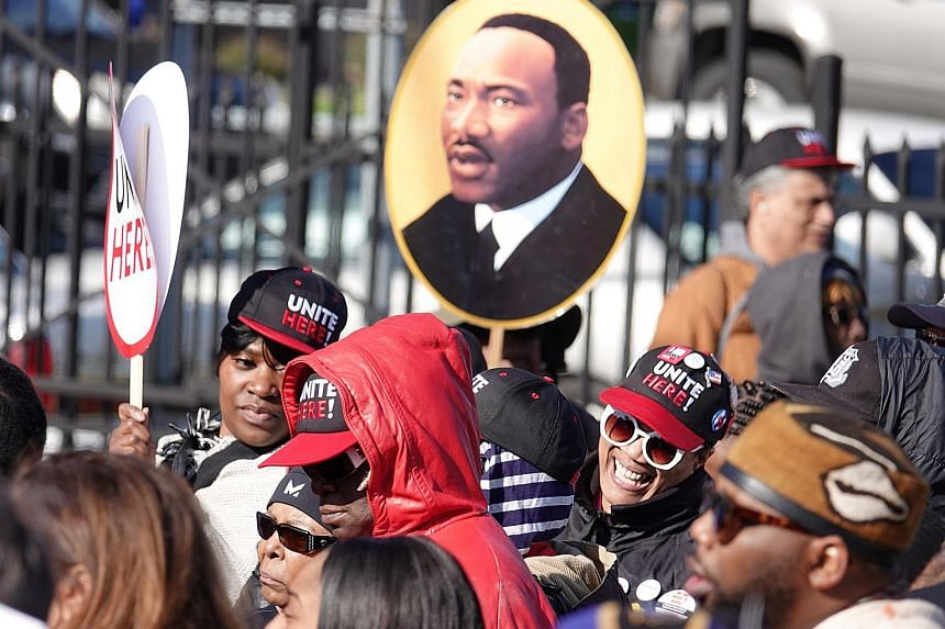 Thousands gather a rally outside the AFSCME headquarters during events surrounding the 50th anniversary of the death of civil rights leader Martin Luther King Jr. in Memphis, Tennessee, on April 4, 2018.