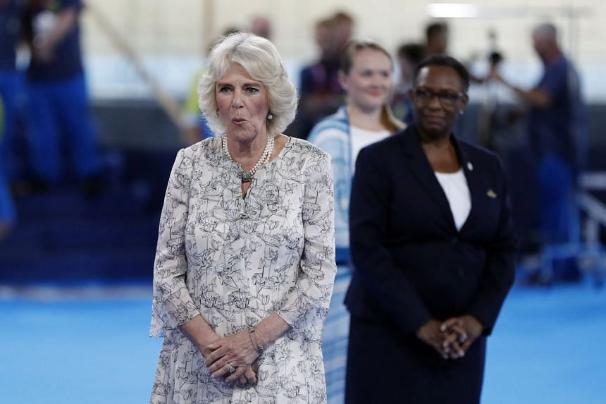 Prince Charles' wife Camilla attends the medal ceremony of the women's 400m track Cycling at the Velodrome in Gold Coast, Australia on April 5, 2018.