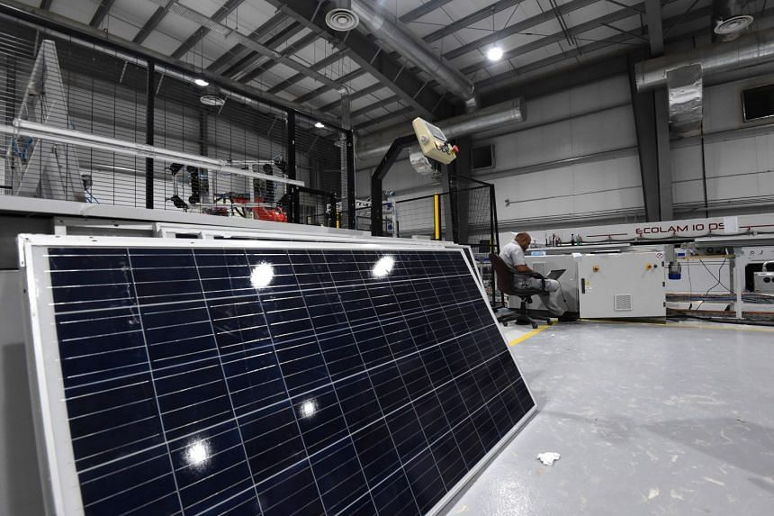 A solar panel factory in Uyayna, north of Riyadh.