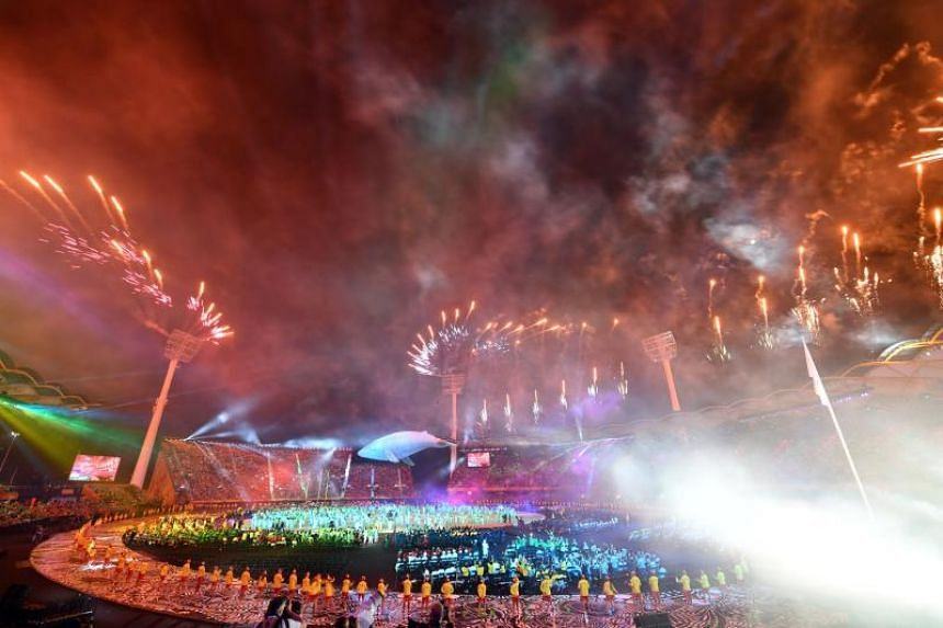 Fireworks are seen during the opening ceremony of the 2018 Gold Coast Commonwealth Games at the Carrara Stadium on April 4, 2018.