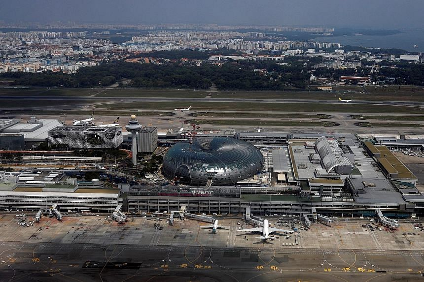 From the air, Changi Airport's future Jewel is a glittering sight. When completed, Jewel Changi Airport, slated to open early next year, will shine with more than 9,600 pieces of glass, specially made in the United States, that frame its facade. The