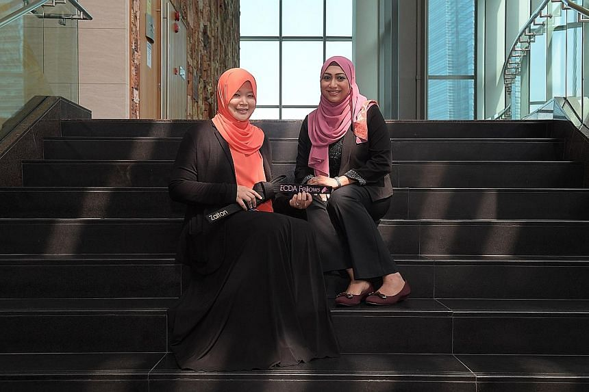 At the appointment ceremony yesterday were Ms Shazadi Begum Mohamed Siddiqe (right) and Ms Zaiton Mohd Ali, 43, executive principal of Iyad Perdaus Child Development, a new appointee under the ECDA Fellows Programme.