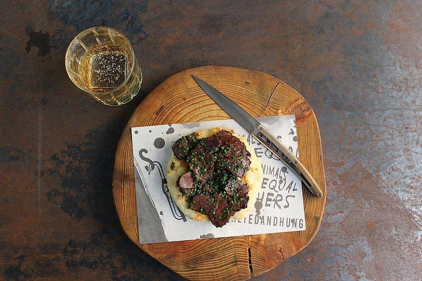 Lamb neck char siew on housemade sourdough flatbread