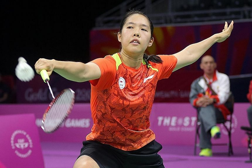 Grace Chua, 22, on her way to thumping Jamaica's Alana Bailey 21-4, 21-6 in the women's singles. The real work begins in the last eight.