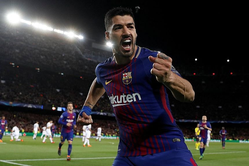 Above: Barcelona's Luis Suarez celebrating after scoring his team's fourth goal and ending a personal 10-game Champions League goal drought. Left: Roma's Edin Dzeko tumbling to the ground after contact from Nelson Semedo in the penalty area with the