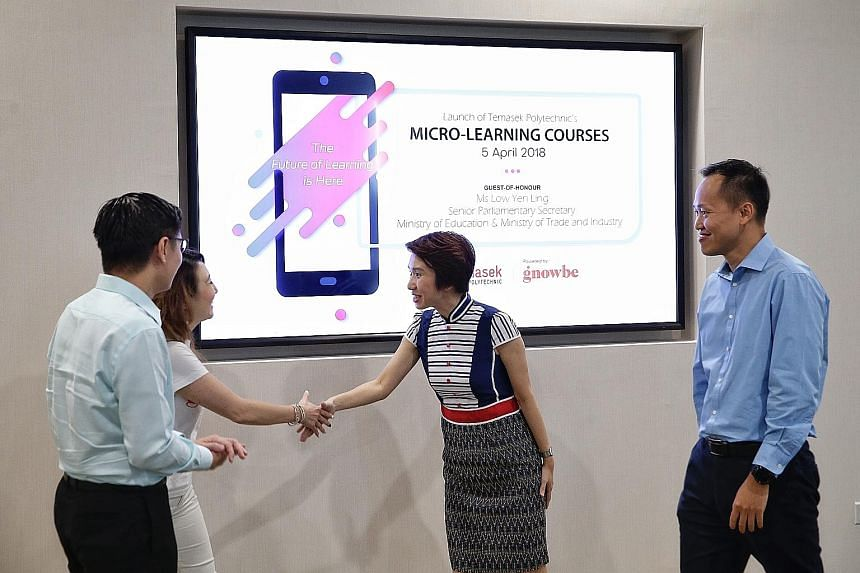 Senior Parliamentary Secretary Low Yen Ling (centre) meeting Gnowbe founder and CEO So-Young Kang at the launch yesterday. With them are SkillsFuture Singapore CEO Ng Cher Pong (far left) and Temasek Polytechnic principal and CEO Peter Lam.