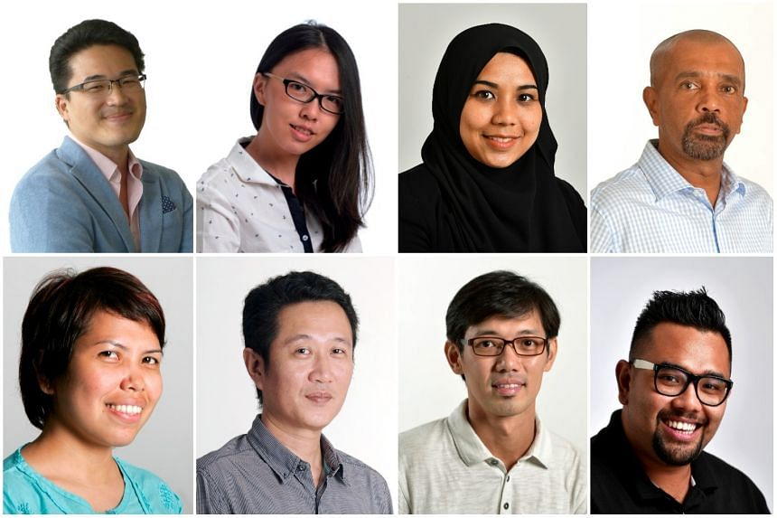 The Straits Times team covering the Malaysia election include (clockwise, from top left) Shannon Teoh, Trinna Leong, Nadirah Rodzi, Leslie Lopez, Ariffin Jamar, Kua Chee Siong, Zaihan Mohamed Yusof and Arlina Arshad.