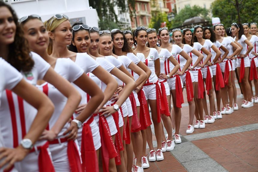A 2015 photo showing grid girls in Monte-Carlo before the Monaco Formula One Grand Prix.