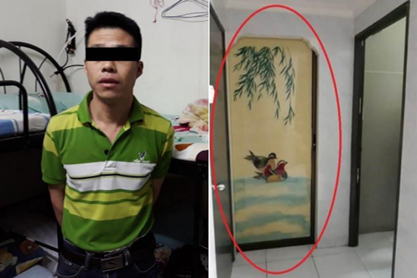 (Left) The 40-year-old overstayer who was arrested. (Right) An illegally partitioned bedroom in the living room of the flat in Toa Payoh.