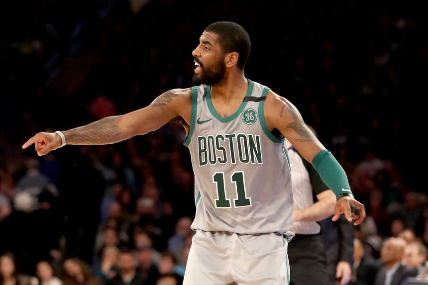 Irving directs his team mates in a game against the New York Knicks.