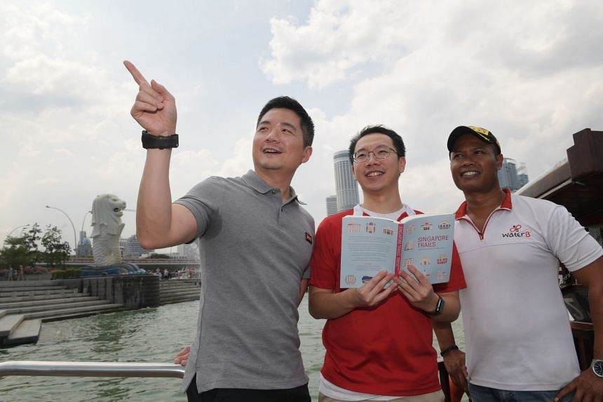 (From left) National Heritage Board assistant chief executive of Policy and Community Alvin Tan, Chester Goh and Sazali Kassim from boat operator Water B.