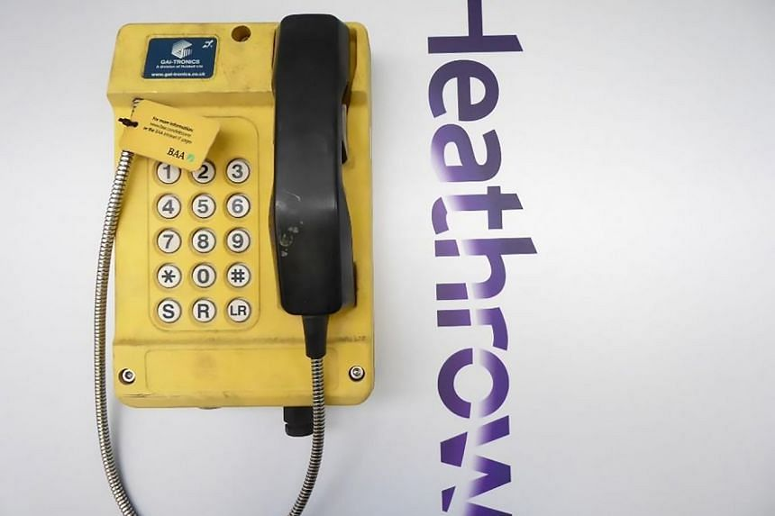 A weatherproof emergency phone from the closed Terminal 1 building at Heathrow Airport in London.