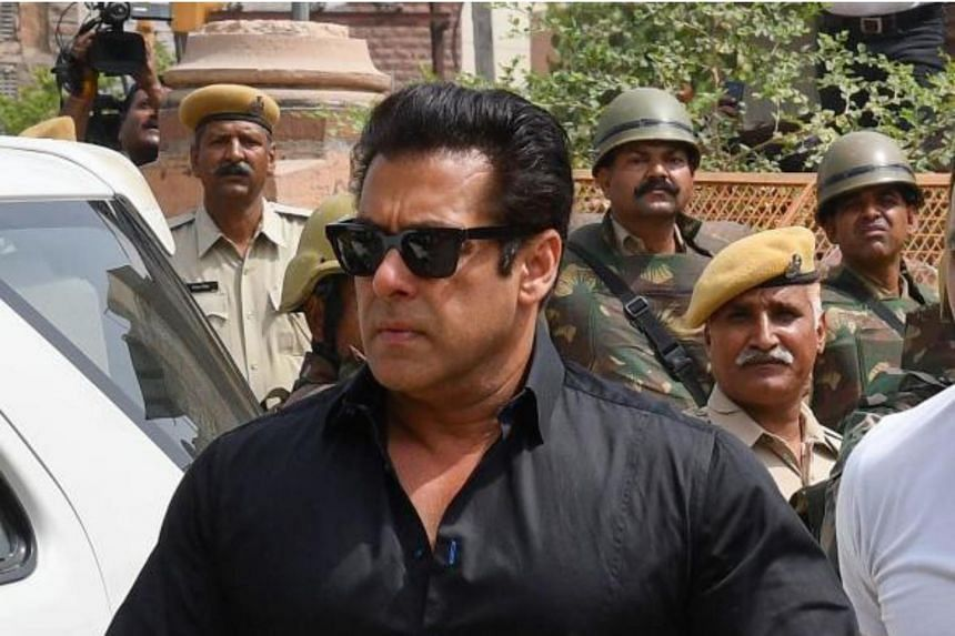 Bollywood actor Salman Khan arrives at a court to hear the verdict in the long-running wildlife poaching case against him in Jodhpur on April 5, 2018.