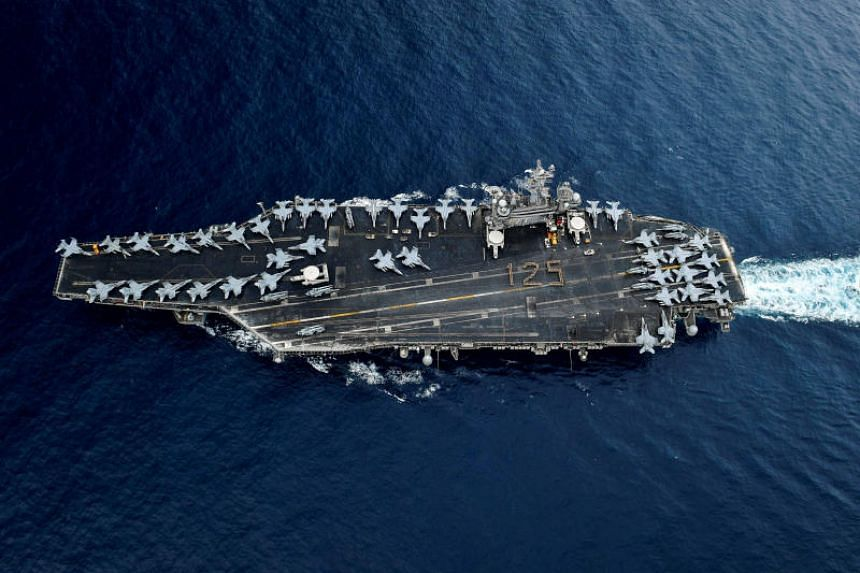 Two Singapore ships will join aircraft carrier USS Theodore Roosevelt (pictured), missile-guided destroyer USS Sampson and missile-guided cruiser USS Bunker Hill in the two-day exercise.