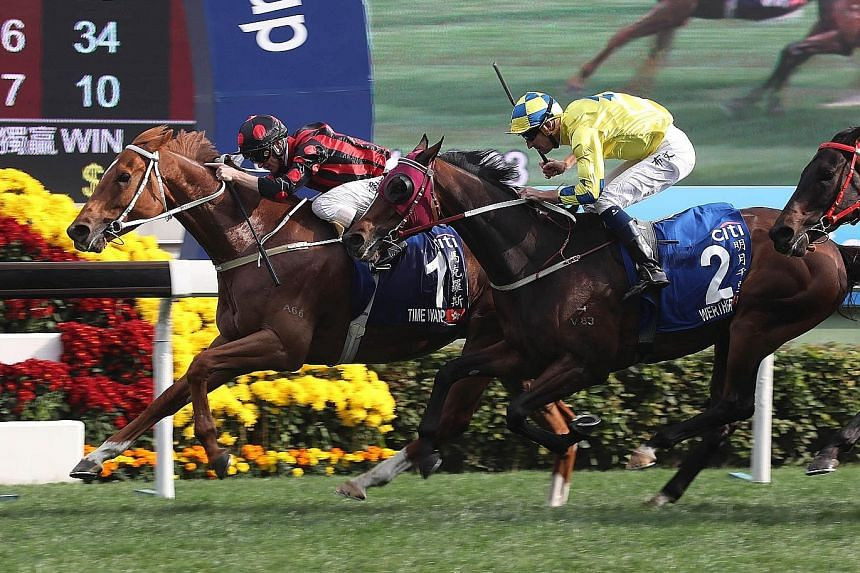 Time Warp (No. 1) winning the Group 1 Citi Hong Kong Gold Cup on Feb 25. He will be hard to run down if he is able to dictate in front in tomorrow's Group 2 The Chairman's Trophy at Sha Tin.