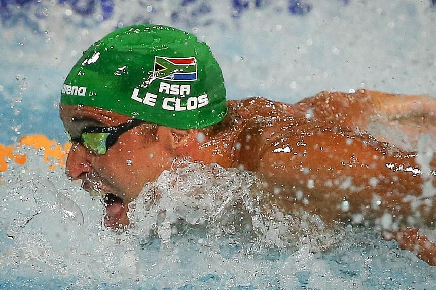 Chad le Clos winning the 50m fly on the Gold Coast yesterday.
