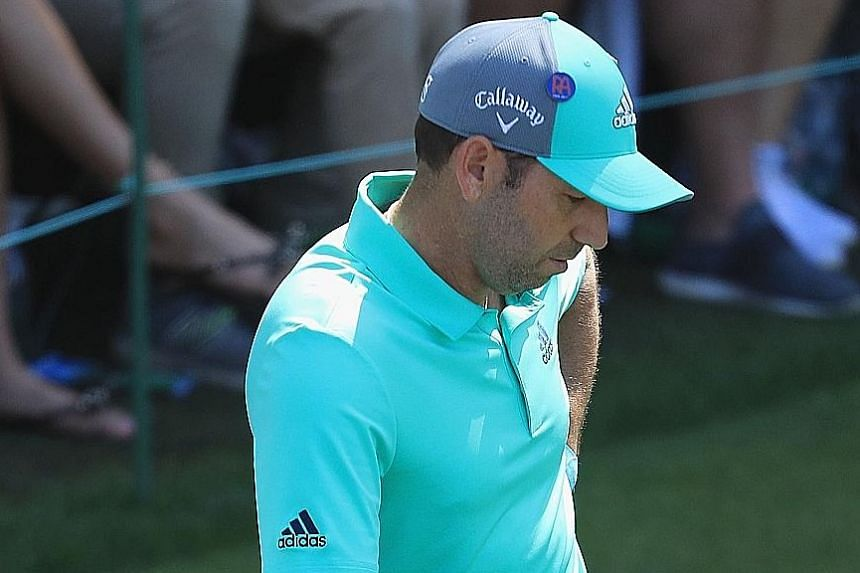 Sergio Garcia looking dejected on the 16th tee after making a 13 on the 15th hole during the first round of the Masters Tournament at Augusta National Golf Club on Thursday. His 81 was the worst first-round score for any reigning Masters champion.
