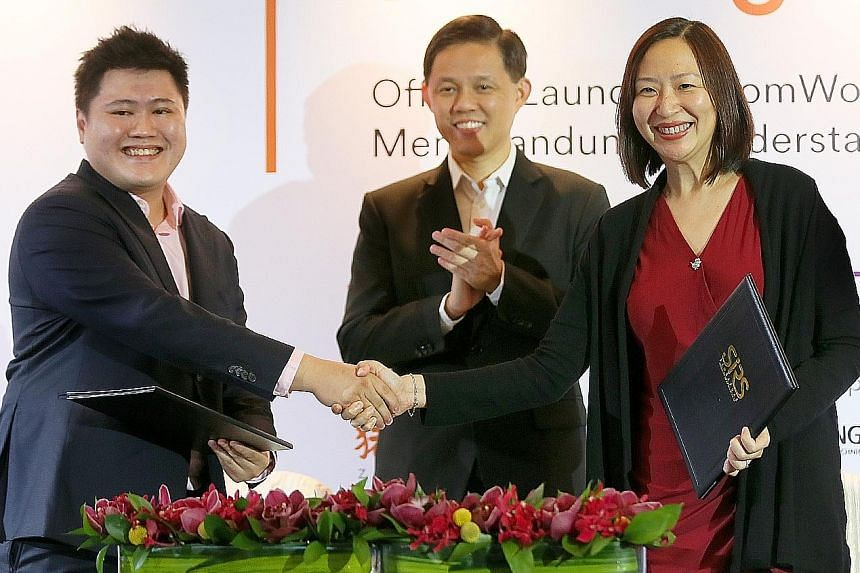 (From left) ZomWork general manager Jason Teo, Minister in the Prime Minister's Office Chan Chun Sing and Nanyang Polytechnic principal and chief executive Jeanne Liew at the signing of the memorandum of understanding at Pan Pacific Singapore yesterd