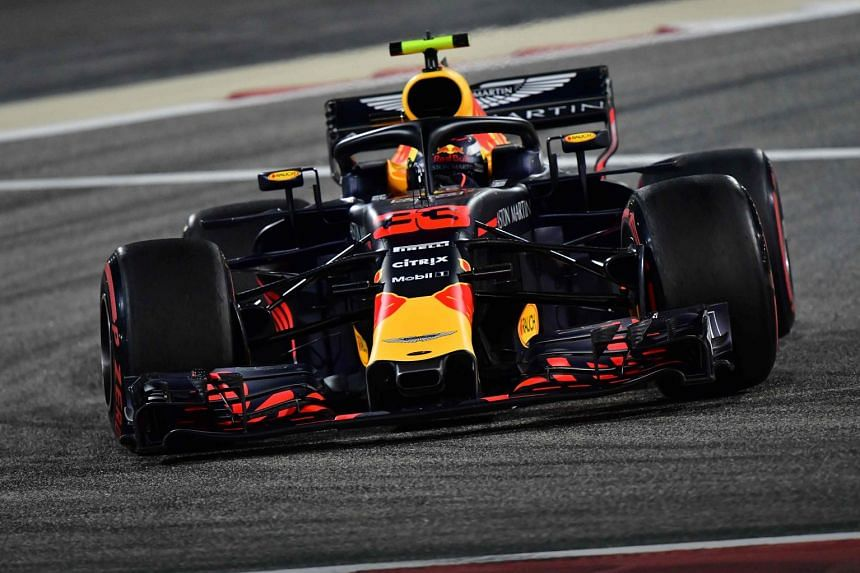 Red Bull's Dutch driver Max Verstappen steers his car during the second practice session in Bahrain.