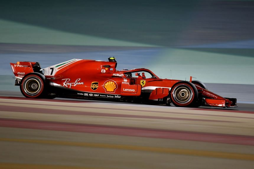 Raikkonen drives during the second practice session