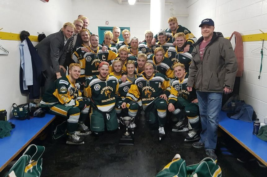 A photo posted on the team's Twitter handle on March 25, 2018. The Humboldt Broncos were heading north for a Saskatchewan Junior Hockey League playoff game against the Nipawin Hawks.