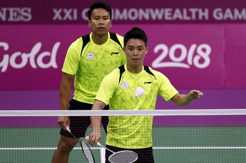 Terry Hee and Danny Bawa Chrisnanta of Singapore in action during the Mixed Team Group Play Stage at the Commonwealth Games on April 5, 2018.