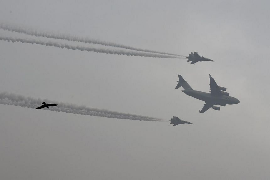 Indian fighter jets fly past during the full dress rehearsal for the Indian Republic Day parade in New Delhi, on Jan 23, 2018.